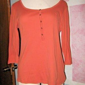 Pumpkin Orange Button Chest 3/4 Sleeve Stretch Top